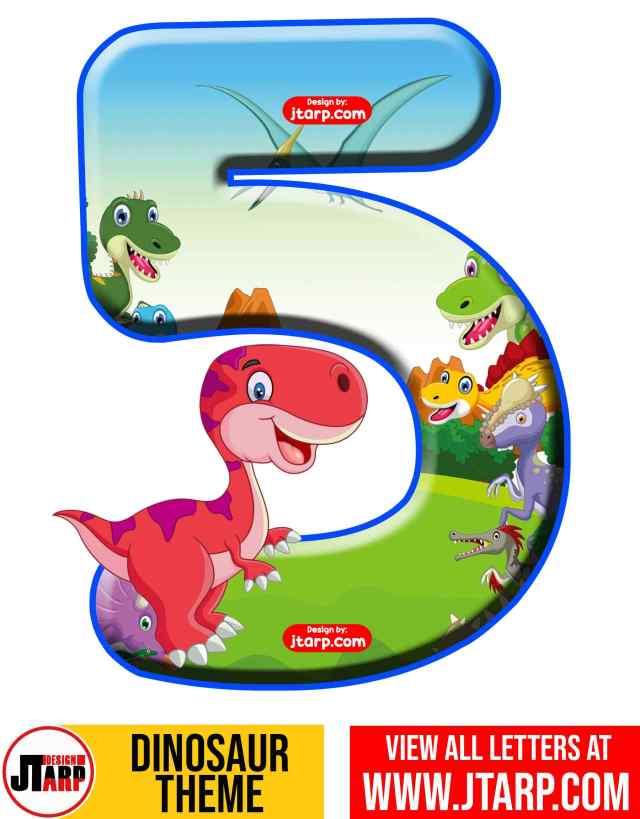 Number 5 Free Printable Dinosaur Number 0-9