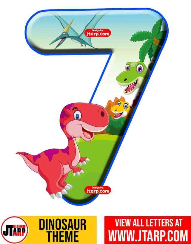 Number 7 Free Printable Dinosaur Number 0-9