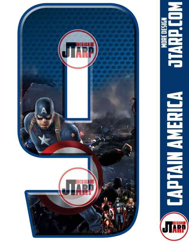 Number 9 Captain America Printable