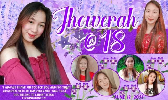Flower Theme Tarpaulin Design for Debut - Purple Motif Layout 2
