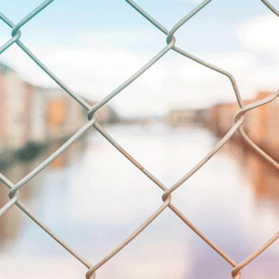 Heart shaped lock on a bridge