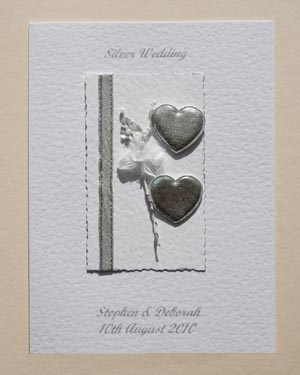 Hearts & Flowers Silver Wedding Anniversary (25) Front - Ref P103