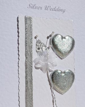 Hearts & Flowers Silver Wedding Anniversary (25) Closeup - Ref P103