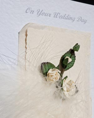 Feathers and Roses Wedding Card Closeup - Ref P105