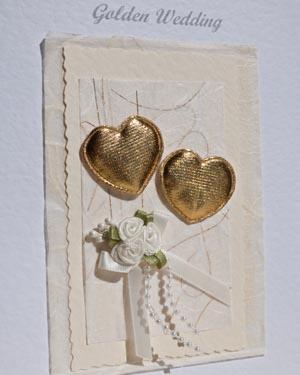 Hearts & Flowers - Golden Wedding Anniversary Card Closeup - Ref P106