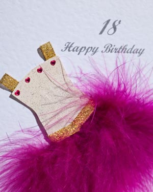 Flouncy feathers - cerise - 18th/21st Birthday Card Closeup - Ref P107c