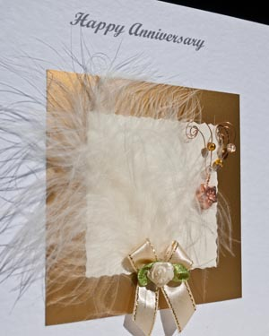 Feathers and Bows Anniversary Card Closeup - Ref P108