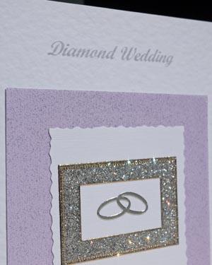 Diamond Rings - Diamond Wedding Anniversary Card Closeup - Ref P111
