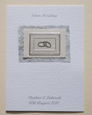 Silver Rings – Silver Wedding Anniversary Card Front – Ref P117