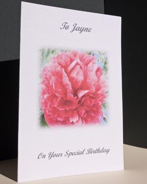 Peony - Birthday Card Angle - Ref P122