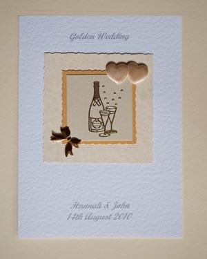 Golden Bubbles - Golden Wedding Anniversary Card Front - Ref P128