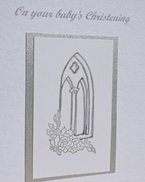 Church Window Christening Card Closeup - Ref P137