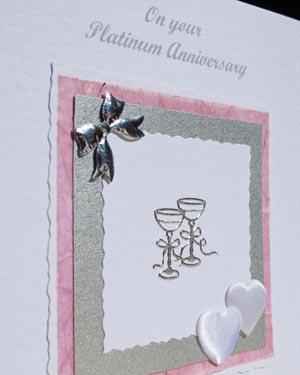 Platinum Hearts & Bows - Platinum Wedding Anniversary Card Closeup - P142