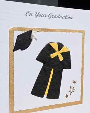 Black Gown with Yellow Trim Graduation Card Closeup - Ref P145y
