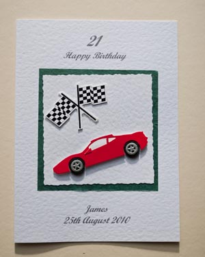 Sports Car and Flag - 21st Birthday Card Front - Ref P147