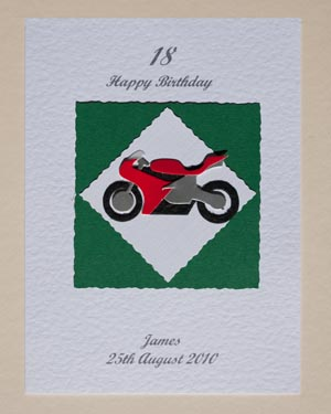 Motorbike - Men's Birthday Card Front - Ref P148