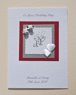 Champagne Glasses Wedding Card Front - Ref P149