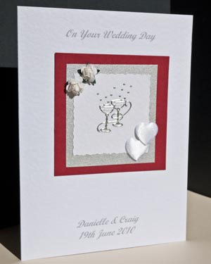 Champagne Glasses Wedding Card Angle - Ref P149