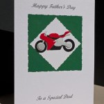 Red Motorbike Father's Day Card Angle - Ref P150