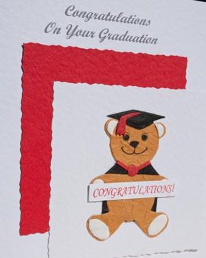 Bear with Banner Graduation Card Closeup - Ref P159