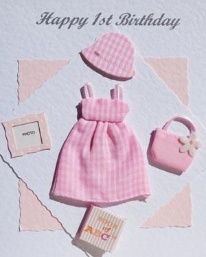 Pink Gingham - Girls Birthday Card Closeup - Ref P160
