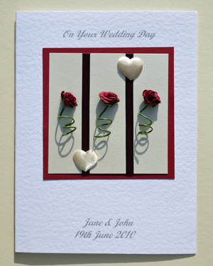 Three Rose Stems Wedding Card Front - Ref P167
