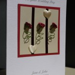 Three Rose Stems Wedding Card Angle - Ref P167
