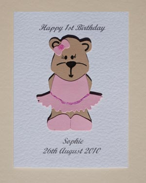 Bonnie Bear - Girls Birthday Card Front - P171