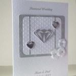 Diamond Sparkles - Diamond Wedding Anniversary Card Angle - Ref P180