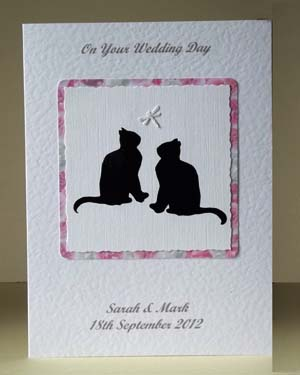 Lucky Black Cats Wedding Card Front - Ref P182