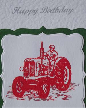 Vintage Tractor in Red - Men's Birthday Card Closeup - Ref P186