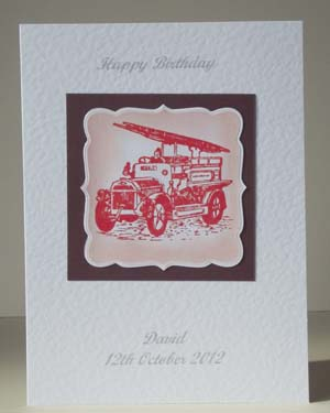 Vintage Fire Engine - Men's Birthday Card Front - Ref P188
