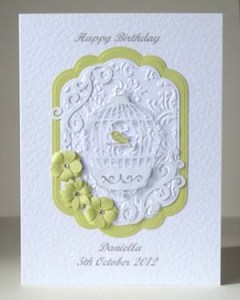 Bird Cage Women's Birthday Card Front – Ref P190