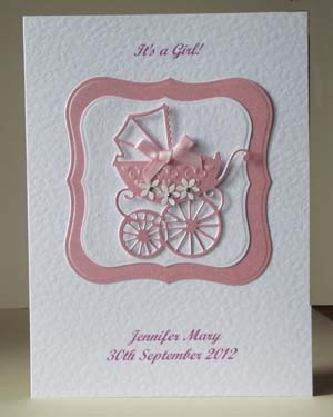 Pearly Pink Pram - New Baby Girl Card Front - Ref P192