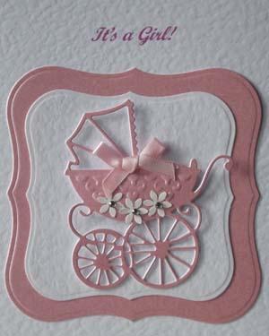 Pearly Pink Pram - New Baby Girl Card Closeup - Ref P192