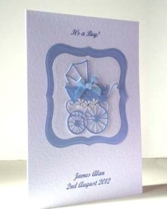 Pearly Blue Pram New Baby Boy Card Angle - Ref P193