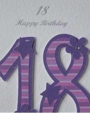 Pink and Purple 18 - 18th Birthday Card Closeup - Ref P194