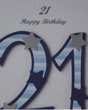 Blue Striped 21 - 21st Birthday Card Closeup – Ref P197