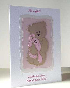 Teddy and Pink Rabbit - New Baby Card Angle - Ref P198