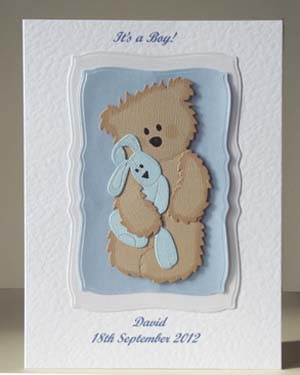 Teddy and Blue Rabbit - New Baby Card Front - Ref P199