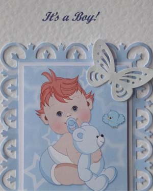 Butterfly Boy New Baby Boy Card Closeup - Ref P203