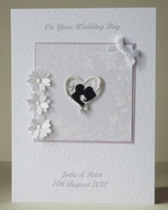 Classic Silhouette Wedding Card Front- Ref 204