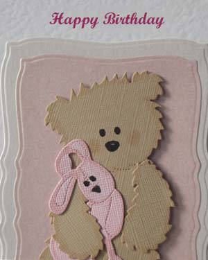 Scruffy Ted and Pink Rabbit - Girl's Birthday Card Closeup - Ref P210