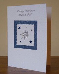 Twinkling Stars Christmas Card Angle - Ref PC590