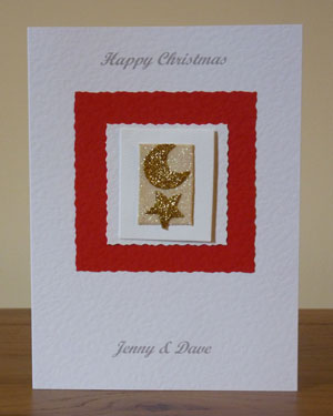 Gold Star and Moon Christmas Card Front - Ref PC601