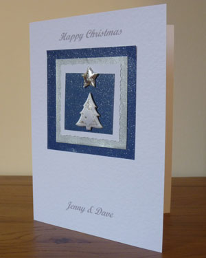 White and Silver Tree Christmas Card Angle - Ref PC602