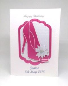 Pink Glitzy Shoe - Women's Birthday Card Front - Ref P215