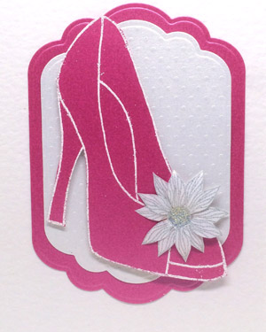 Pink Glitzy Shoe - Women's Birthday Card Closeup - Ref P215