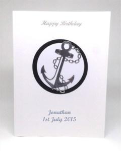 Silver Anchor - Men's Birthday Card Front - Ref P217