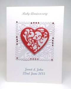 Ruby Red - Ruby Wedding Anniversary Card Front - Ref P219